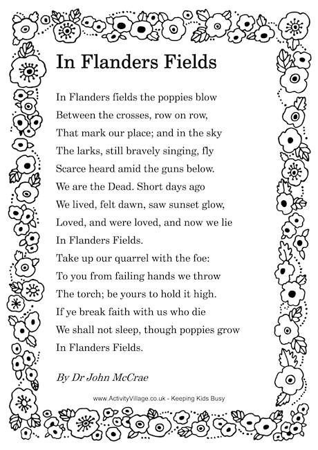 "Remembrance Day. Poem: ""In Flander's Fields"" written during the First World War by Canadian physician Lieutenant Colonel John McCrae."
