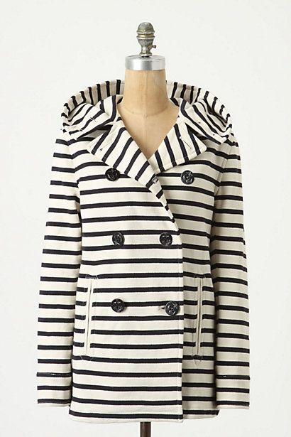 Striped Jersey Peacoat / Anthropologie