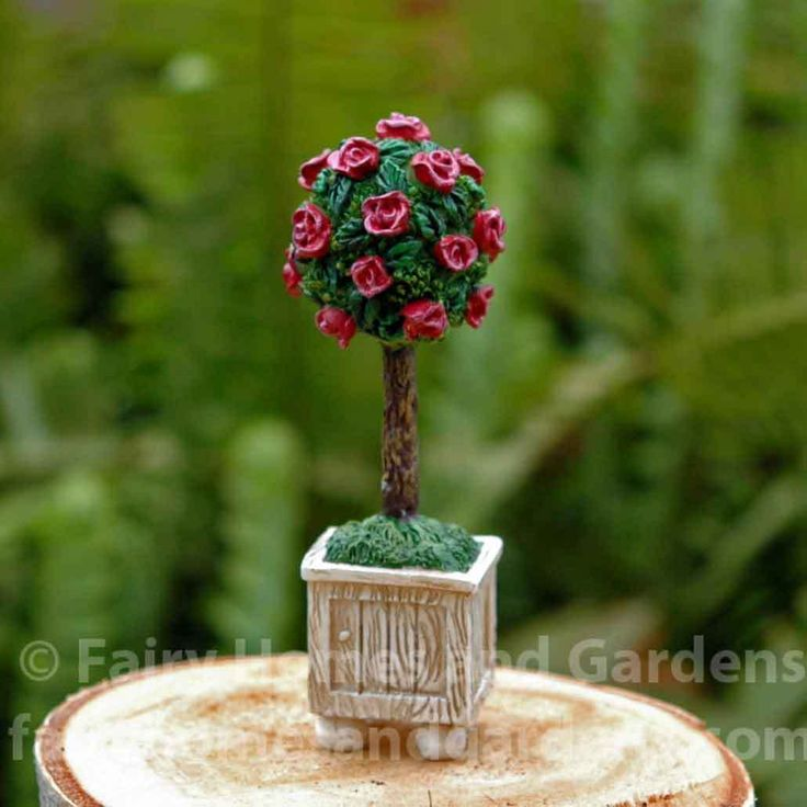 Fairy Homes and Gardens - Miniature Rose Topiary, $6.50 (http://www.fairyhomesandgardens.com/miniature-rose-topiary/)