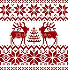 Colección de patrón noruego de Navidad, aislado sobre fondo blanco Más