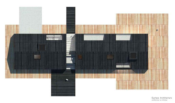 Duurzame vrijstaande particuliere zelfbouw gezinswoning (bovenaanzicht) - Blackhouse | Eustace Architectuur
