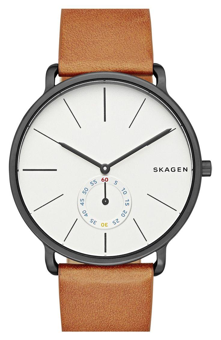Skagen 'Hagen' Leather Strap Watch, 40mm