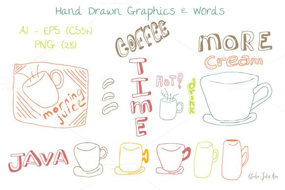 Coffee Graphics Words EPS AI PNG by Studio Julie Ann on @creativemarket