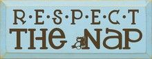 Shown in Old Baby Blue with Brown lettering