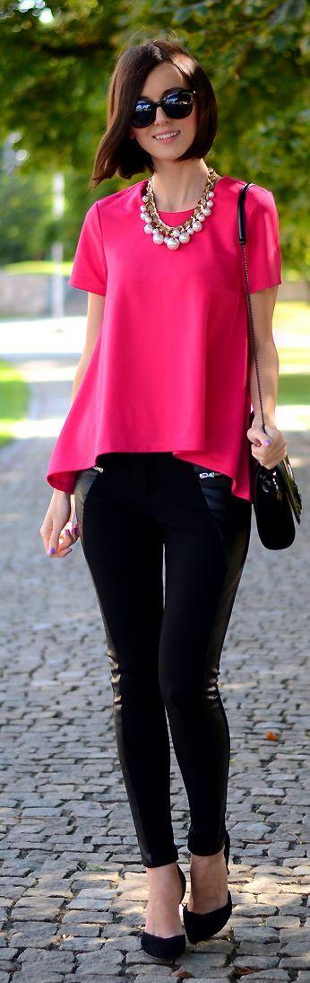 moda de chicas otoño invierno 2014 2015 Fuchsia Chiffon A-line Blouse by Daisyline