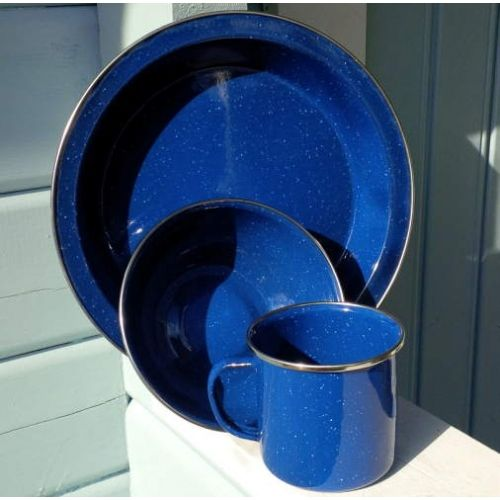 Blue enamel mug, bowl and plate camping set