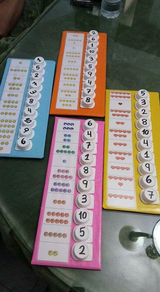Zahlen finden und Flaschendeckel zuordnen. Schönes Spiel für die ersten Zählübungen.