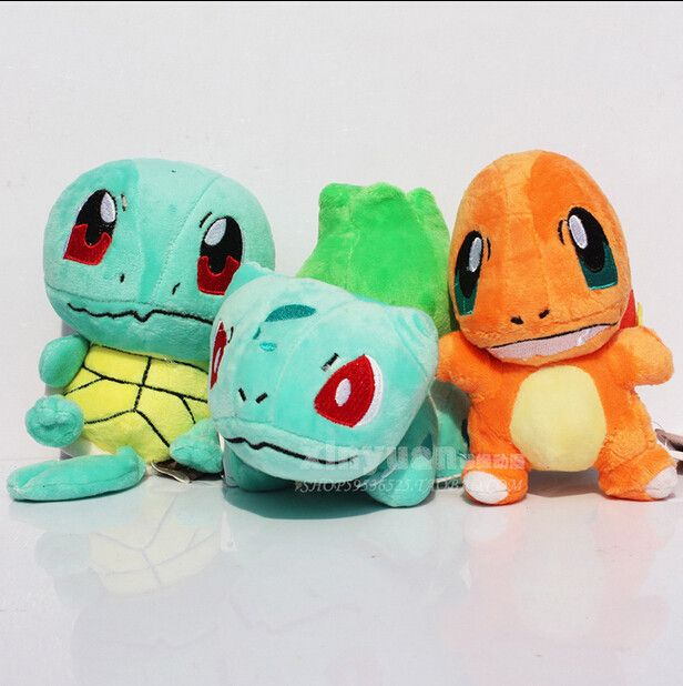 3pcs/Lot Newest POKEMON Plush Figure Doll Collectible Bulbasaur Charmander Squirtle Plush Toy Baby Toy Children's Day Gift