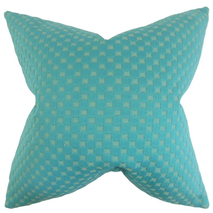 Kasen Solid Feather Filled Teal Throw Pillow