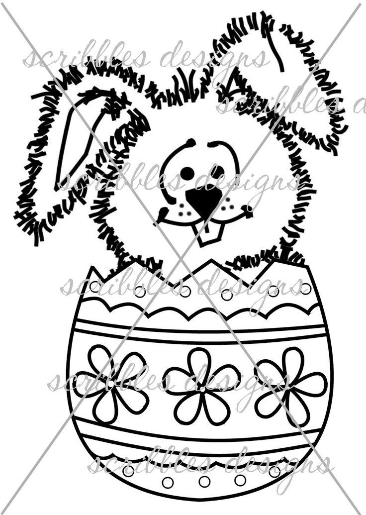 $3.00 B Bunny Egg (http://buyscribblesdesigns.blogspot.ca/2014/03/419-b-bunny-egg-300.html) #digital stamps #digis #bunny #egg #Easter #scribbles designs