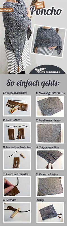stoffe-hemmers: Freebook Poncho nähen super einfach! Poncho nähen – mit diesem Freebook kinderleicht! Einfacher gehts wirklich nicht. Dieser Poncho ist in 10 Schritten genäht und garantiert in max. einer Stunde fertig. Alles was ihr braucht ist ein Strickstoff eurer Wahl, eine bischen Kordel, Fransenband und Textilkleber. #freebook #poncho #fransen #stoffehemmers #selbstgemacht #nähenmachtglücklich #sewing #fabric #strickstoff #diy #happysewing #nähblogger #nähblog