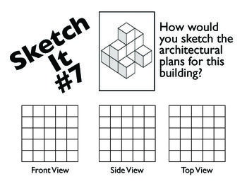 how to draw front side and top view of cube