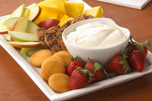 Amazing fruit dip!  1 pkg. (8 oz.) PHILADELPHIA Cream Cheese, softened 1 jar (7 oz.) JET-PUFFED Marshmallow Creme  Mix together and refrigerate!