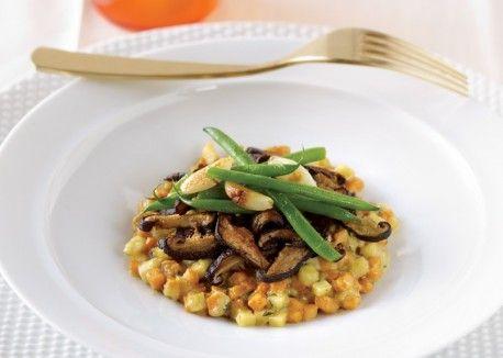 Reverse Risotto: Recipes Food, Garlic Green Beans, Mushrooms Risotto, Confit Garlic, Cream Sauces, Risotto Recipes, Beans Confit, Vegetarian Recipes