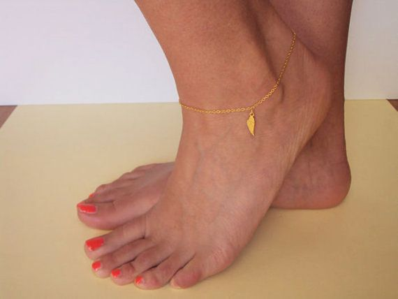 Angel Wing Anklet 14K Gold Anklet Angel Ankle by VasiaAccessories