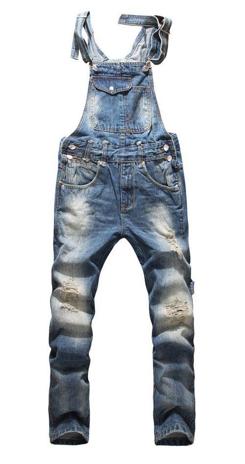 Salopette en jeans destroy - Vêtements pour homme - Paris, Lyon, Nice, Monaco