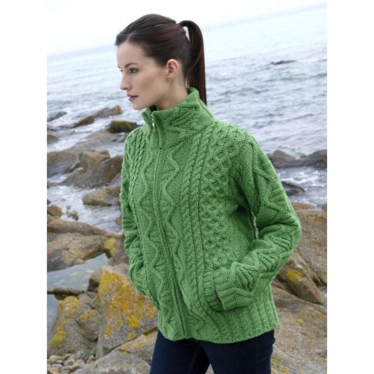 82 best aran images on pinterest aran sweaters knits and green aran zip pocket large cardigan made from soft merino wool this irish double zip knitted cardigan comes in a green colour and is the perfect gift for fandeluxe Choice Image