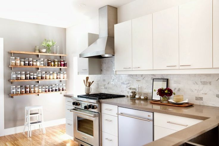 open shelf kitchen | Love all the jars labeled for organizing dry goods.