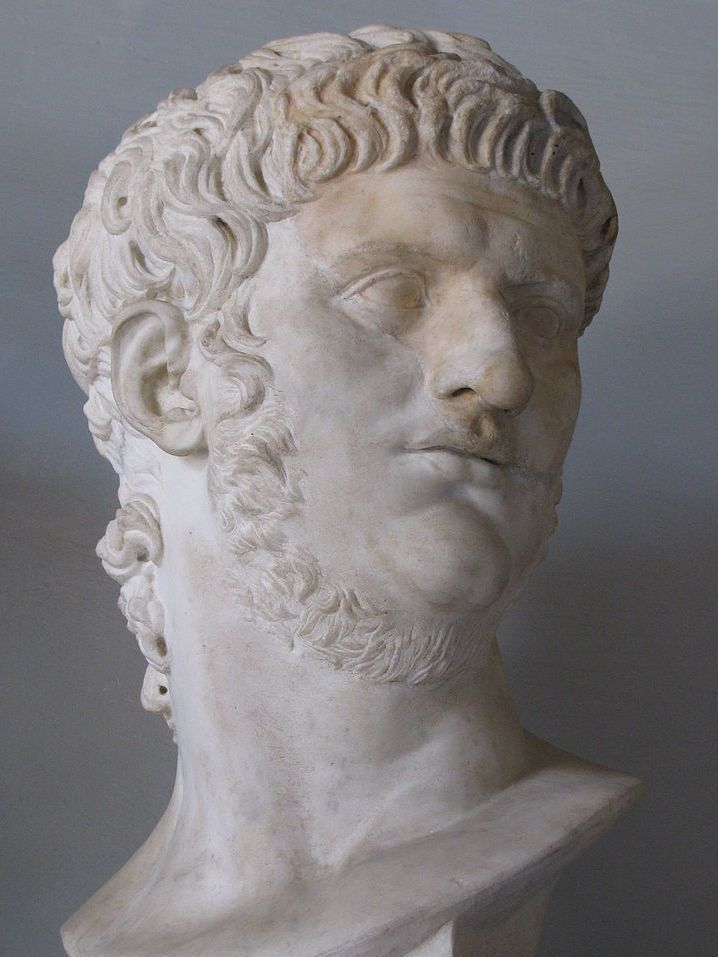 Nero (b.37 d.68 AD)... Rome's 5th emperor, who ultimately brought the Roman Empire to ruin.  He murdered thousands of people, including every member in his family.  He poisoned, beheaded, stabbed, burned, boiled, crucified and impaled people.  Christians were starved to death, burned, torn by dogs, fed to lions, crucified, used as torches, and nailed to crosses.  He tortured and killed the apostle Paul (beheaded) and the disciple Peter (crucified upside down).