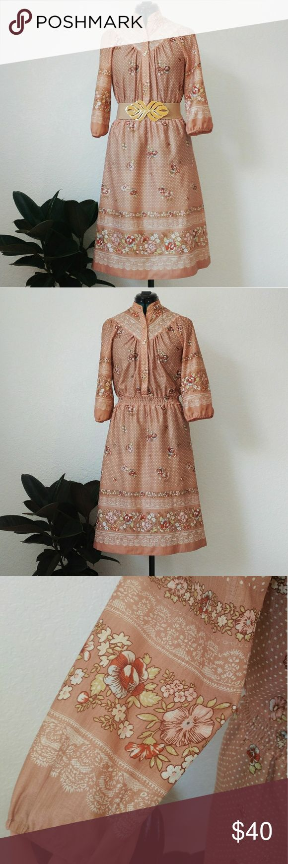 Vintage 70's Bohemian Festival Dress This bohemian style dress is in great vintage condition! The little polka dots and floral print is just too cute. Midi length and smocked waist. A couple of faint spots that are barely noticeable. Perfect for the festival and fall season. Vintage Dresses