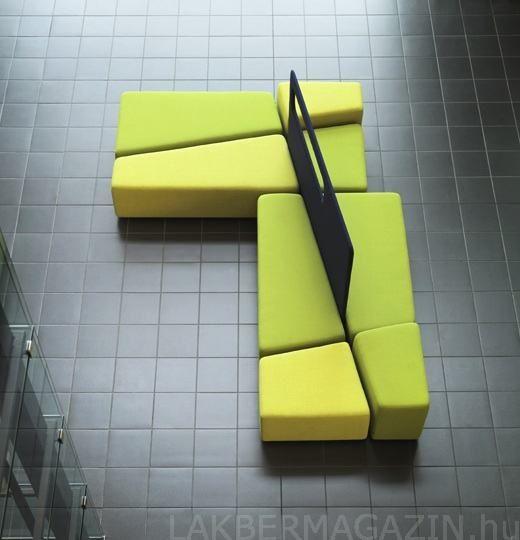 Közösségi terek és várószobák arculatát színesítő, formabontó stílusú kanapé | Diagonal - MARTELA