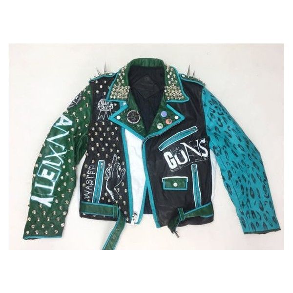 Leather Punk Jacket Hand Painted Mens Medium Green White Black... ❤ liked on Polyvore featuring men's fashion, men's clothing, men's outerwear, men's jackets, mens green leather jacket, mens jackets, mens punk jacket and mens green jacket