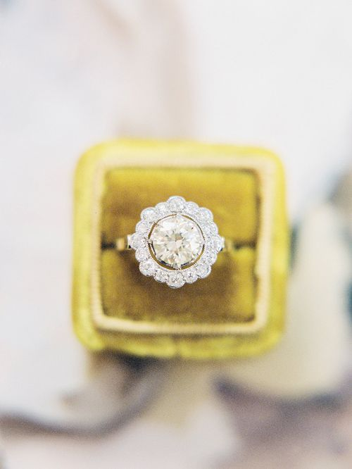 Vintage diamond halo ring from Trumpet & Horn // photo by Sawyer Baird