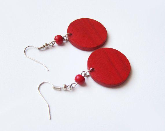 Retro wooden earrings earrings wood red hand by forEVAhairforks