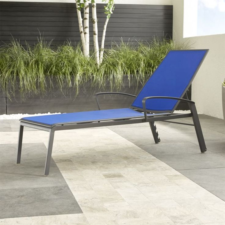 Shop Largo Mediterranean Blue Mesh Chaise Lounge.   Stacking outdoor chaises in weather-resistant, charcoal powdercoated aluminum provide breezy, comfortable seating in soothing blue.  The PVC-coated polyester mesh fabric is mold- and fade-resistant.