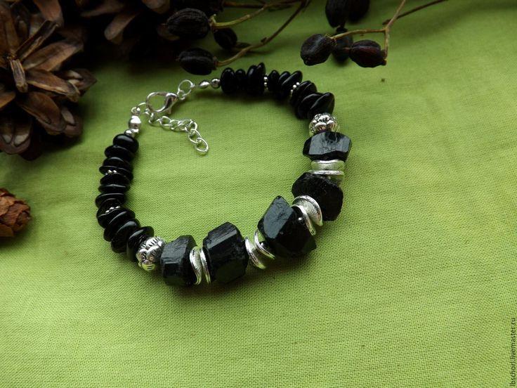 Купить Браслет с шерлом-черным турмалином - магический, кулон с камнем, самоцветы, талисман, амулет, оберег