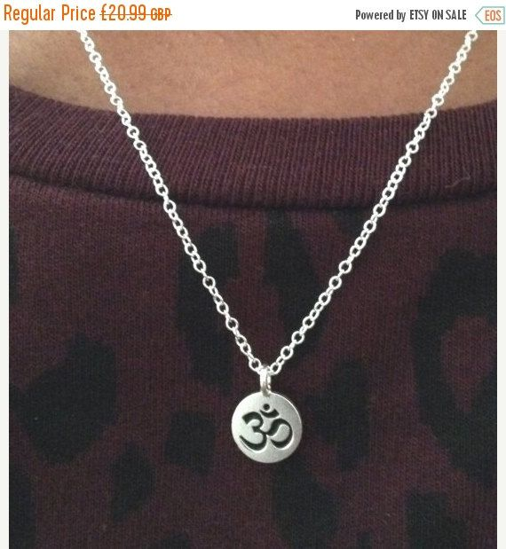 20% OFF FEB SALE Silver Ohm Om Necklace Sterling by AceVintage2012