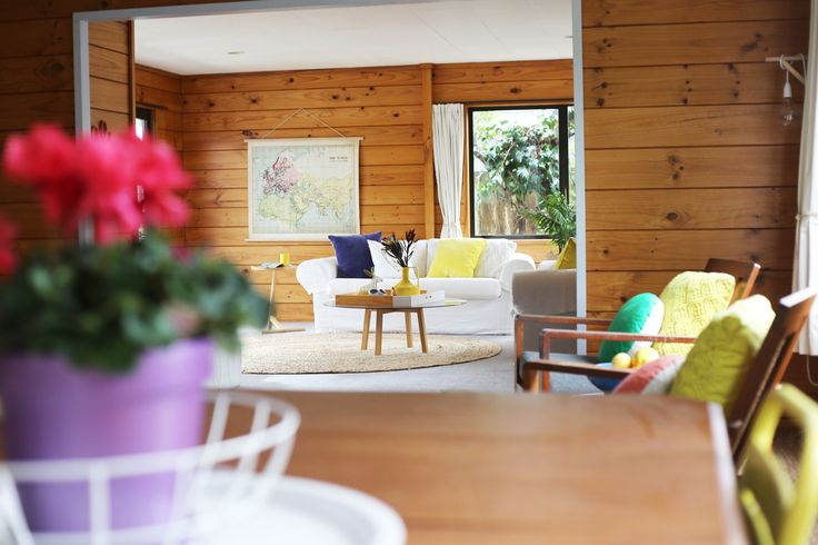 Styling by #placesandgraces - #lockwood #blueandyellow #lounge #familyroom #colourfulroom #purplepot #vintage #eclectic
