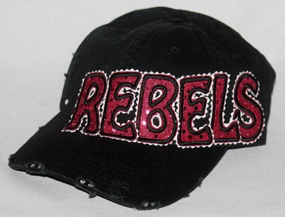 Custom baseball hat. REBELS hat embellished with sparkly