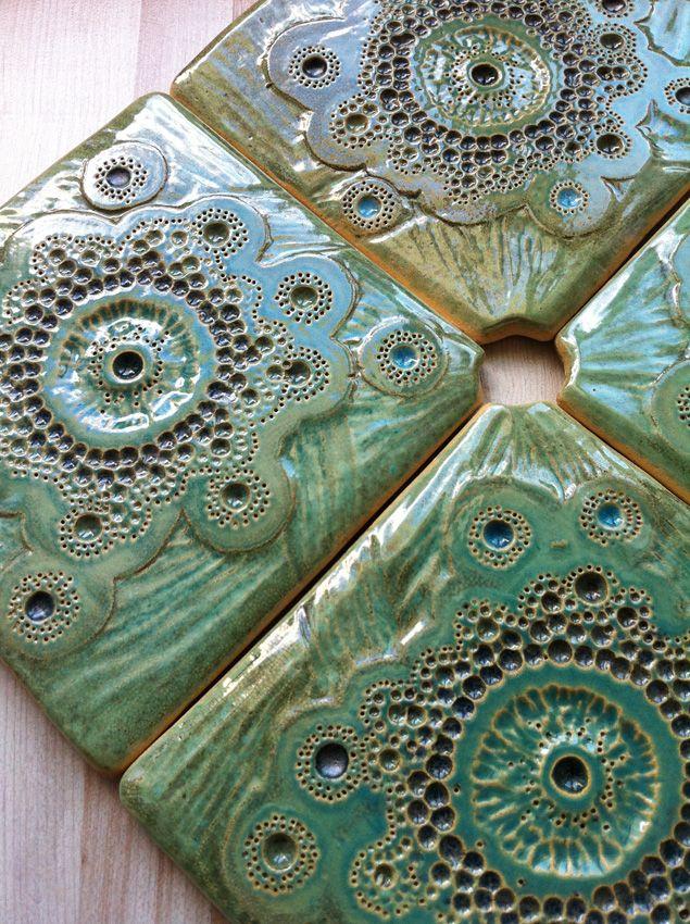 Green turquaise ceramic tiles by nomen omen studio