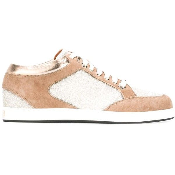 Jimmy Choo 'Miami' sneakers (3,400 CNY) ❤ liked on Polyvore featuring shoes, sneakers, brown, leather trainers, jimmy choo trainers, brown lace up shoes, brown leather sneakers and brown leather trainers