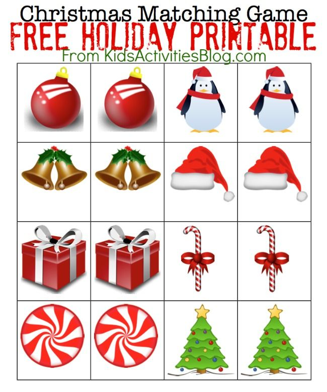 Printable Christmas Games- Matching Game Holiday Printable *He liked them well enough, but I think he's too young to stay focused.*
