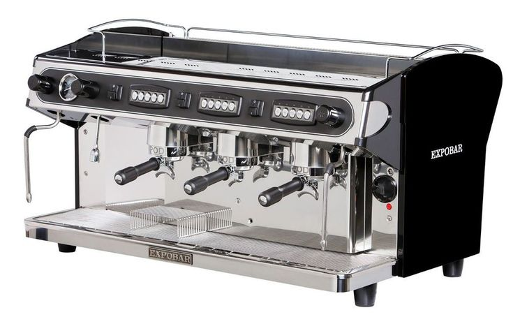 Automatic espresso coffee machine with 3 groups, electronic switchboard to control the coffee dosages volumetrically and manual overide group switch per group. Automatic water filling and copper boiler with 17,5 litres capacity with heat exchanger per group. Two steam taps (stainless steel) and one hot water tap.