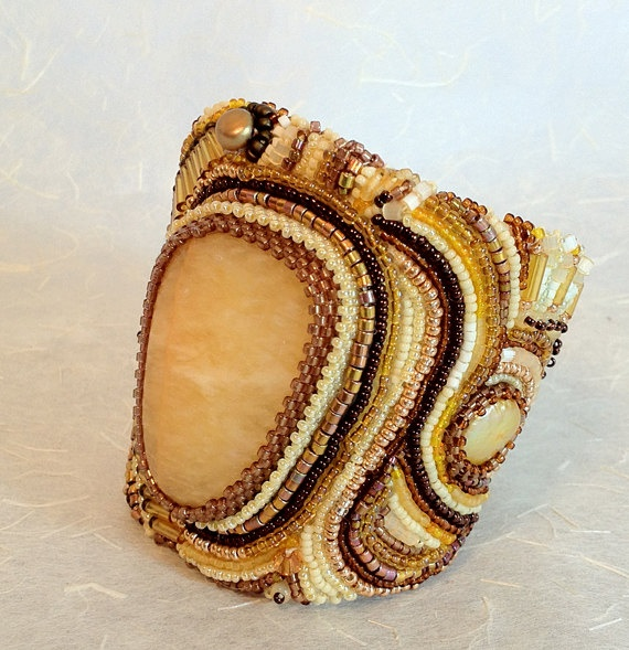 Gold Bead Embroidered Cuff by JMCfineartjewelry on Etsy, $400.00