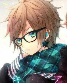 Cute anime boy with glasses