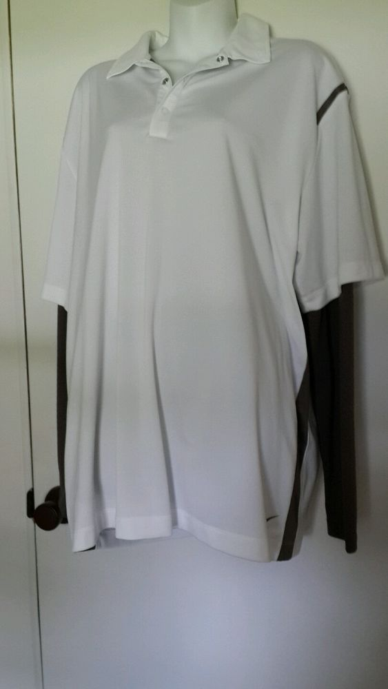 Men's Nike Golf Dri-fit Polo Shirt with Built-in Long Sleeve Undershirt sz XL  #NikeGolf #ShirtsTops
