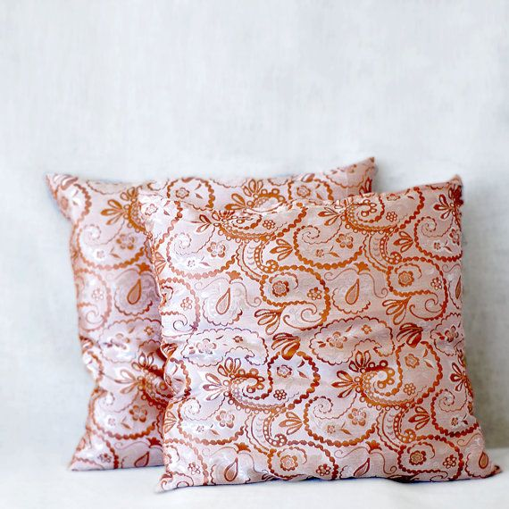 silk brocade cushions, 18x18, set of two, damask pillow, Uzbek throw pillows for sofa or couch, creamy peach. light salmon pink, mauve