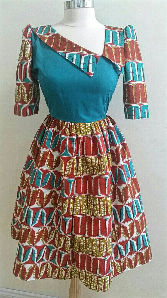 African print Dress Ankara Dress African clothing  ~African fashion, Ankara, kitenge, African women dresses, African prints, Braids, Nigerian wedding, Ghanaian fashion, African wedding ~DKK