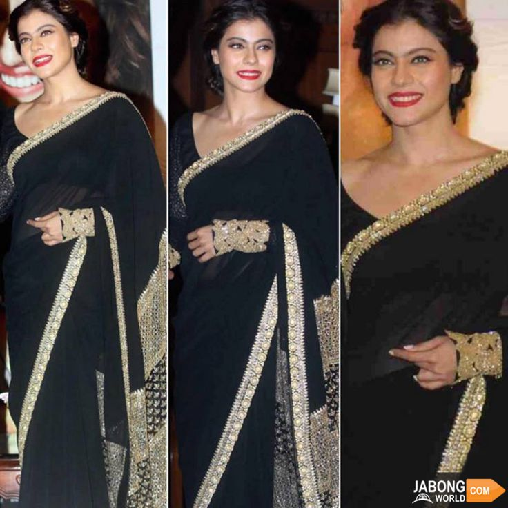 Eternally beautiful Kajol in a black saree, red lipstick for her film Dilwale's promotions! <3 What do you think?