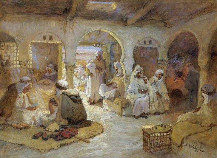 Peinture Algérie - Frederick Arthur Bridgman - A Coffee House, Algeria