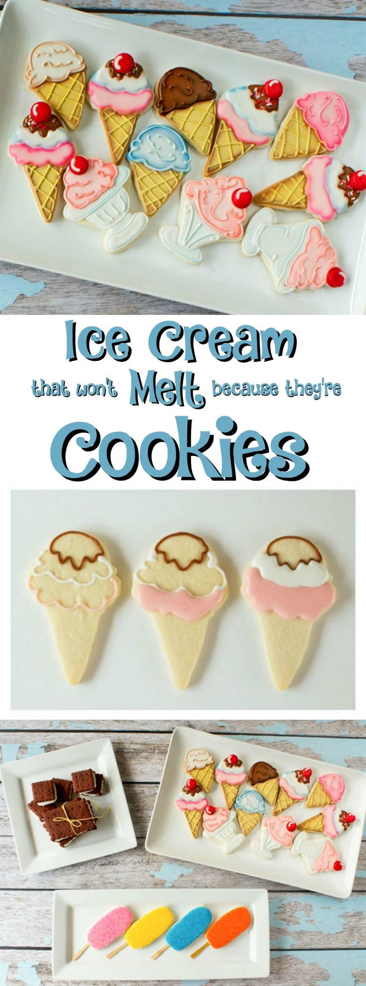 Ice Cream Cookies via www.thebearfootbaker.com