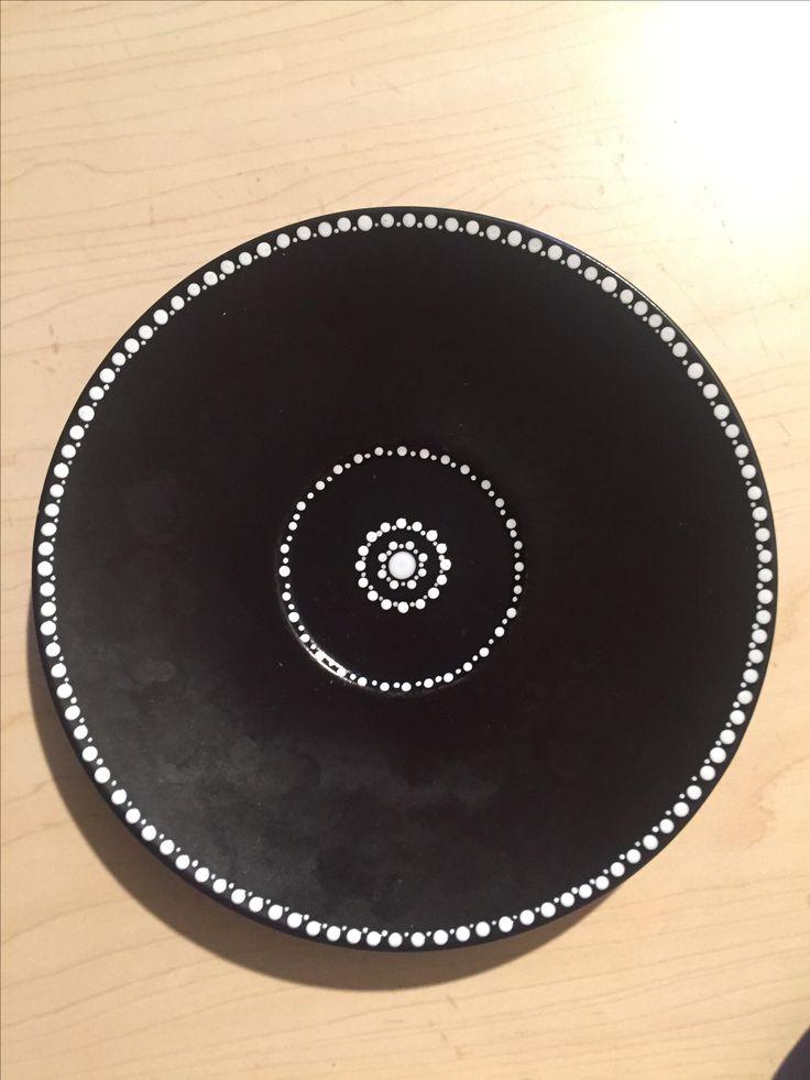 Dot work on a plate  #dotwork #blackandwhite #ceramicpaint #dotart