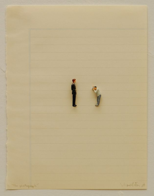 liliana porter The Photograph (2010)figurines on paper8 x 6 ¼ in.