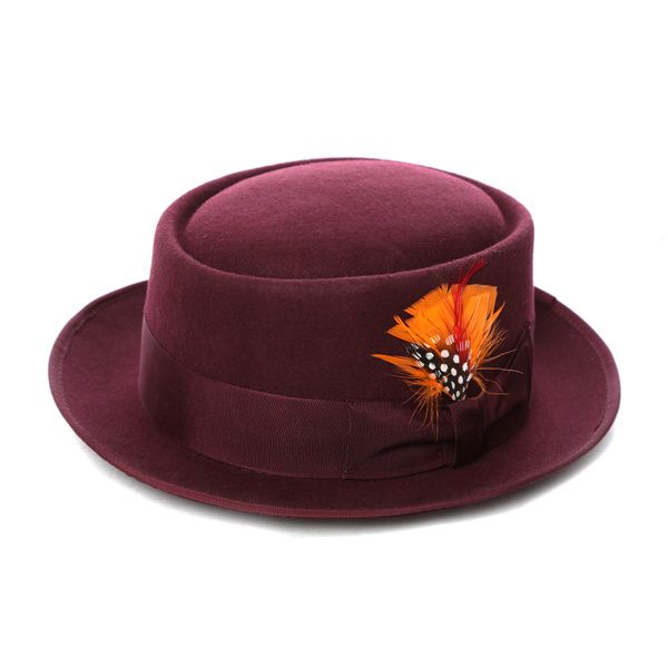 Infuse your look with the vintage style of this pork pie hat by Ferrecci. Made from 100-percent wool felt with a bright feather detail, this hat is available in a variety of different colors. Style: F