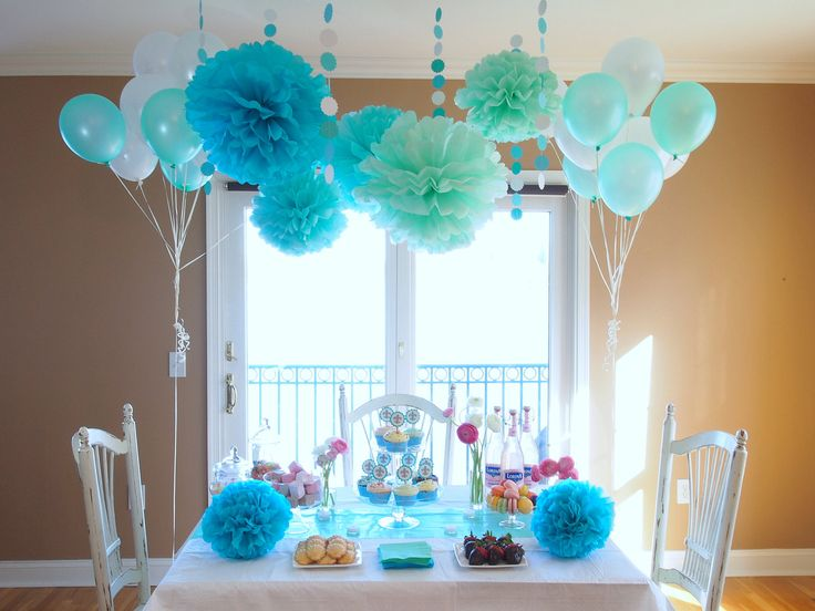 Tiffany blue party shower decorations party ideas for Baby blue wedding decoration ideas