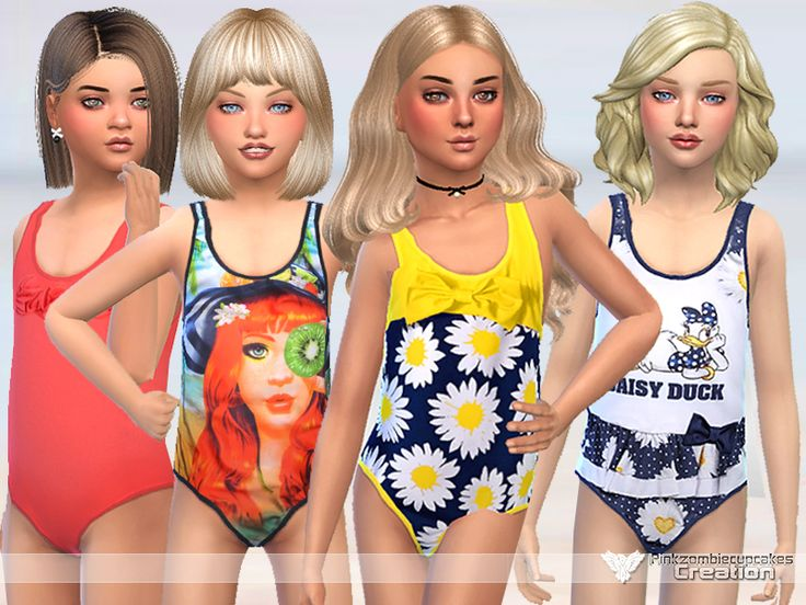 Hq textures Found in TSR Category 'Sims 4 Female Child Swimwear'